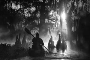 Un uomo conduce un kayak nella palude di Atchafalaya, in Louisiana, Stati Uniti, fra i cipressi giganti della zona. Marsel van Oosten, il fotografo olandese che ha scattato la foto, ha vinto il premio come miglior fotografo di viaggio dell'anno. (Marsel van Oosten / www.typoty.com)